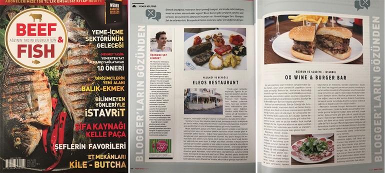 Beef and Fish Dergisi - Doğan Burda Dergi Grubu Dilek Yeğinsü - Üşengeç Şef gastronomi yazısı